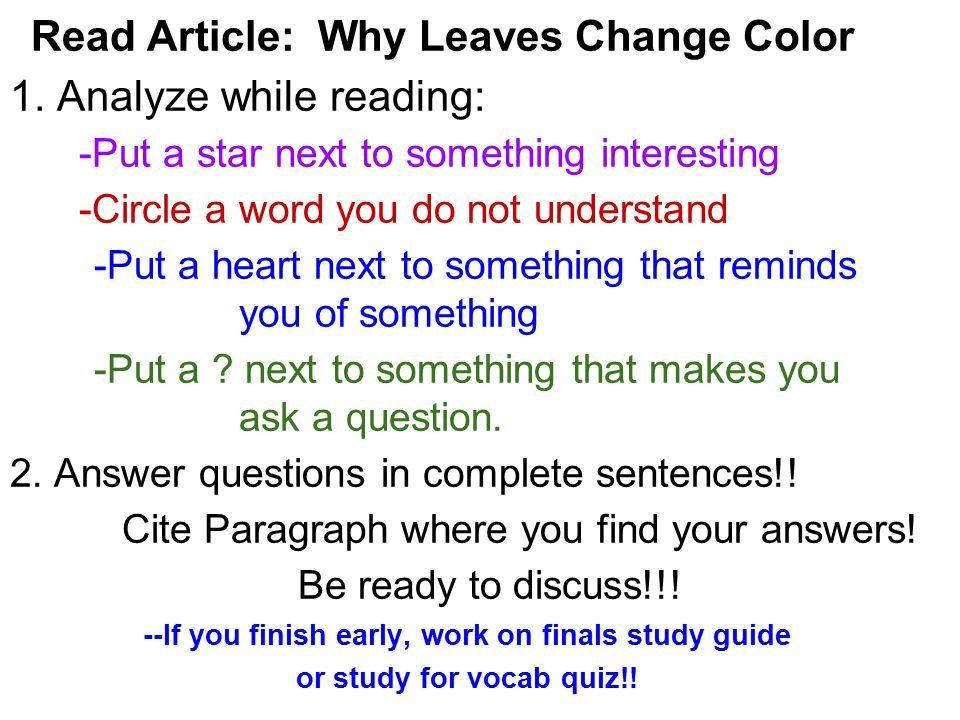 --If you finish early, work on finals study guide