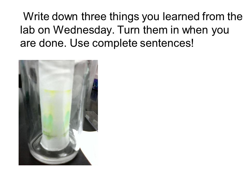 Write down three things you learned from the lab on Wednesday