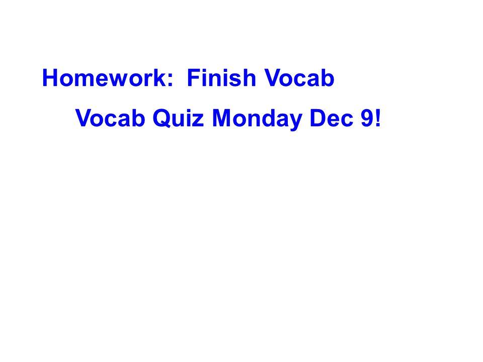 Homework: Finish Vocab