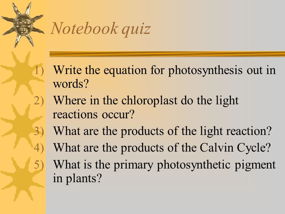 Notebook quiz Write the equation for photosynthesis out in words