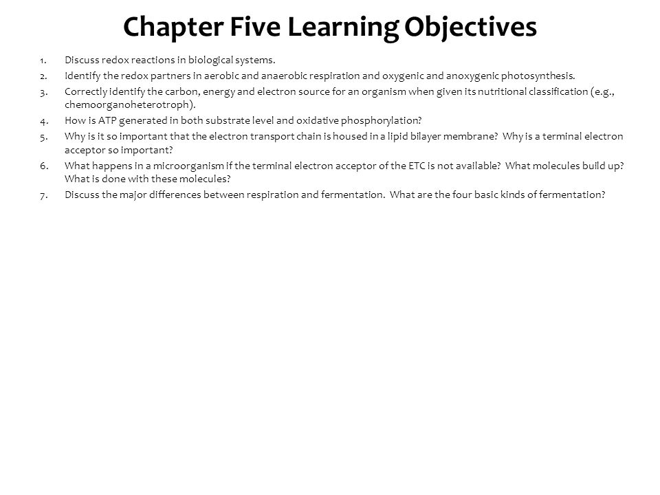 Chapter Five Learning Objectives