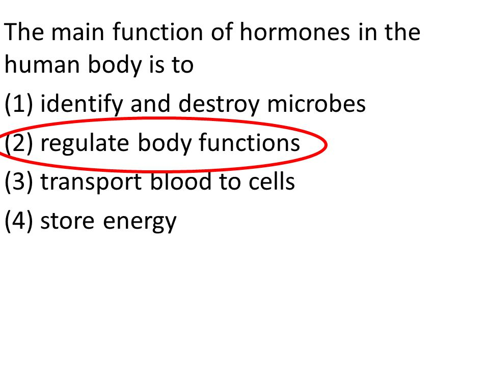 The main function of hormones in the human body is to (1) identify and destroy microbes (2) regulate body functions (3) transport blood to cells (4) store energy