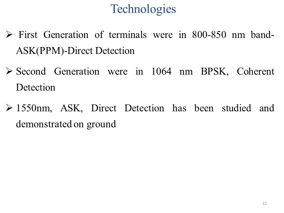 Technologies First Generation of terminals were in 800-850 nm band- ASK(PPM)-Direct Detection.