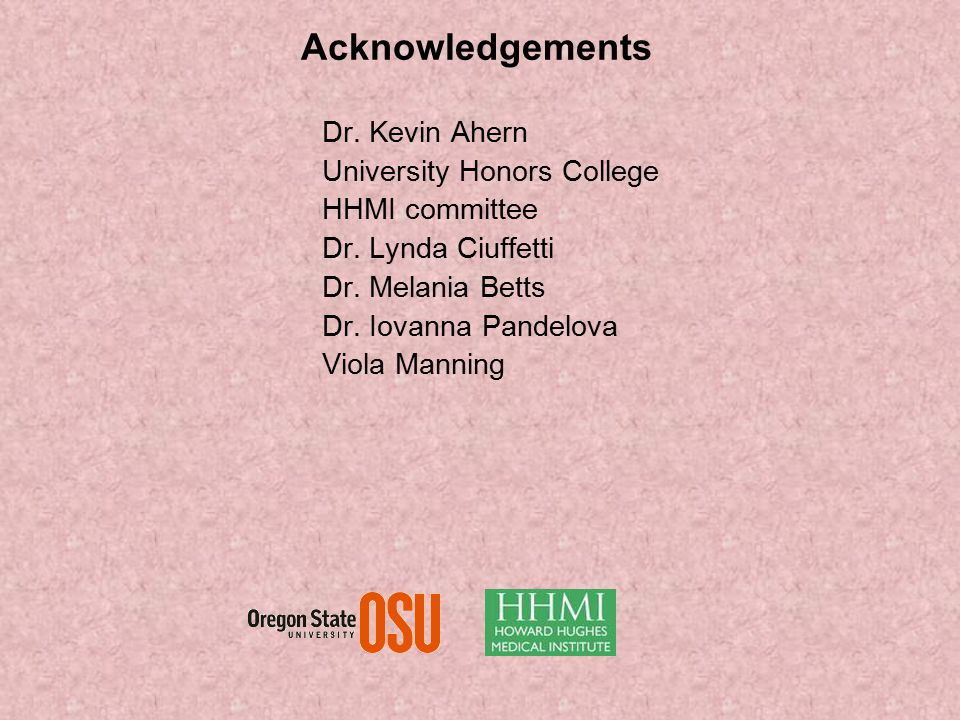 Acknowledgements Dr. Kevin Ahern University Honors College