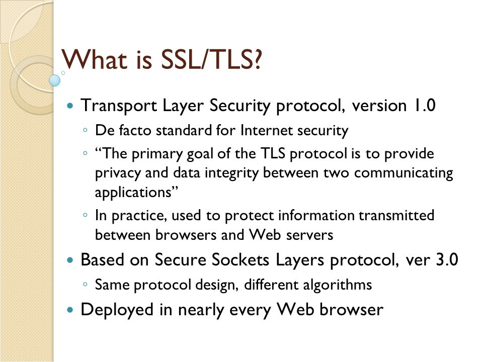 What is SSL/TLS Transport Layer Security protocol, version 1.0