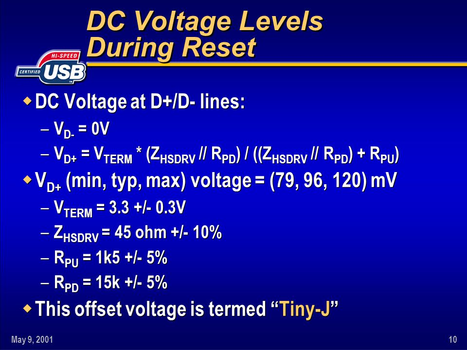 DC Voltage Levels During Reset