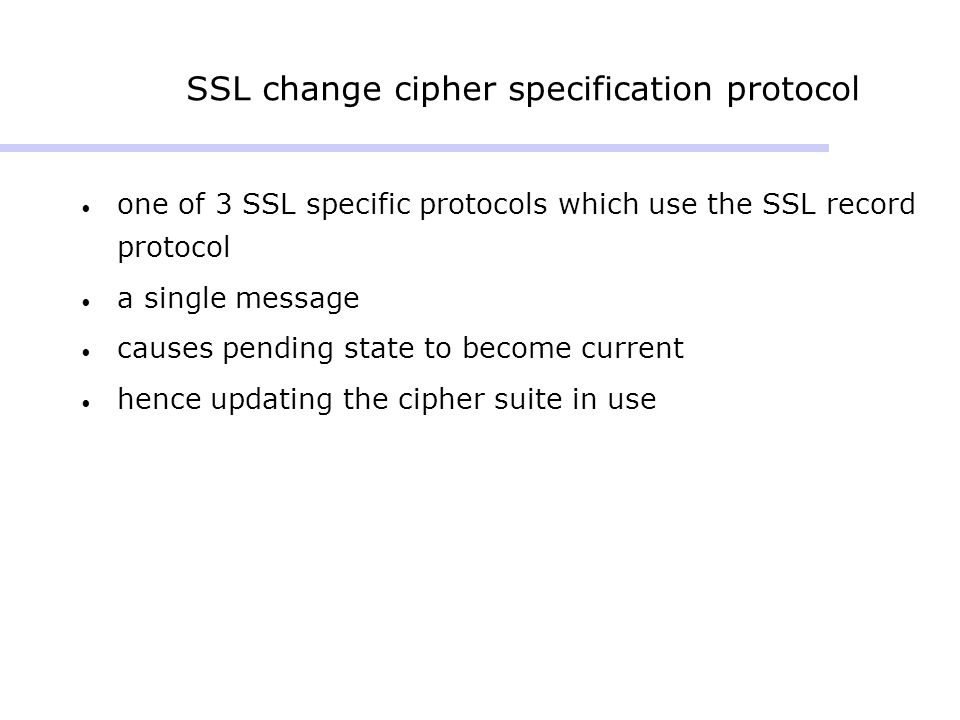 SSL change cipher specification protocol