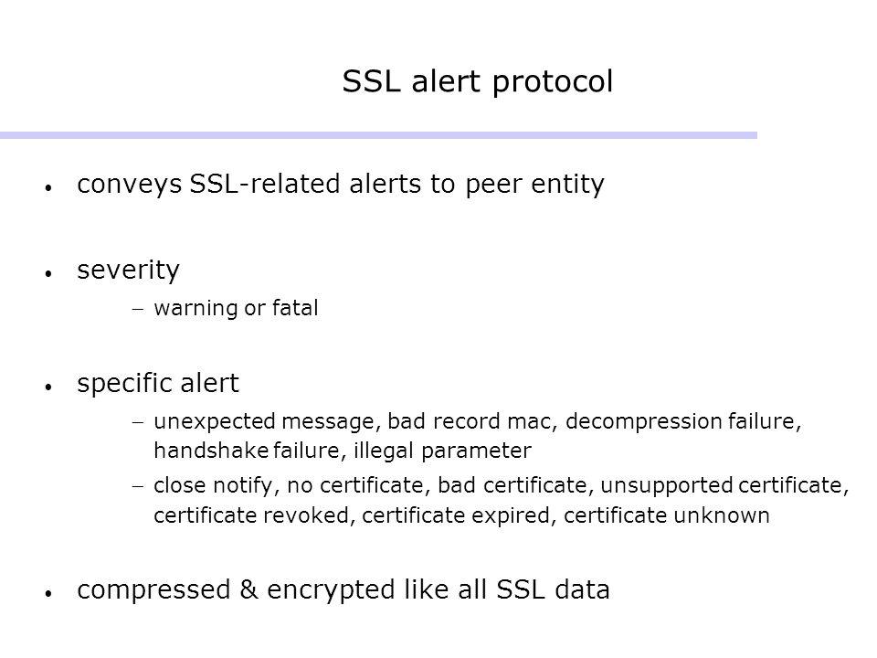 SSL alert protocol conveys SSL-related alerts to peer entity severity