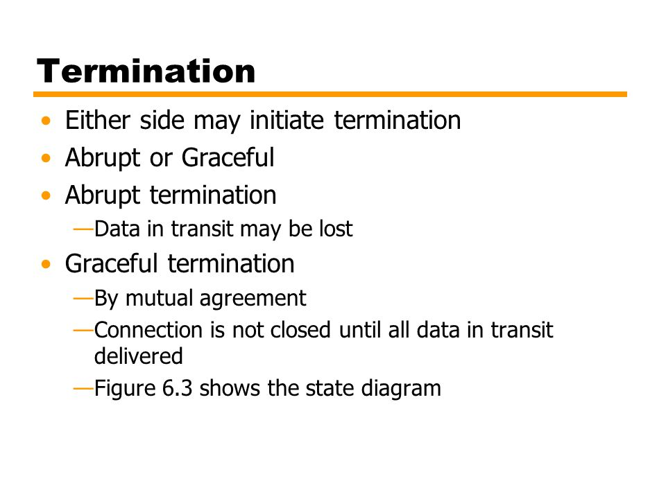 Termination Either side may initiate termination Abrupt or Graceful