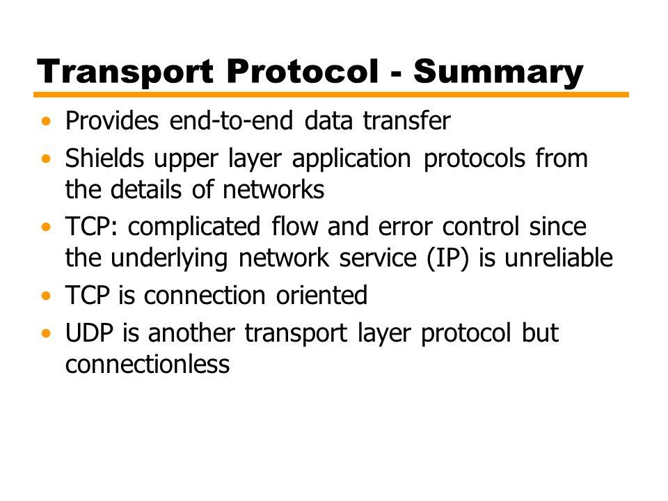 Transport Protocol - Summary