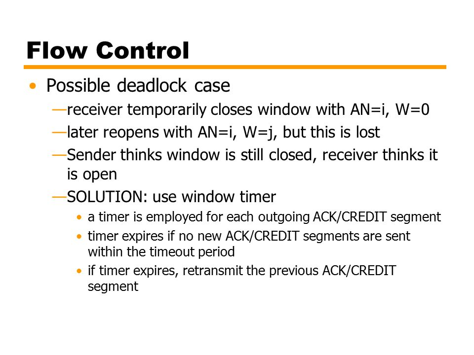 Flow Control Possible deadlock case