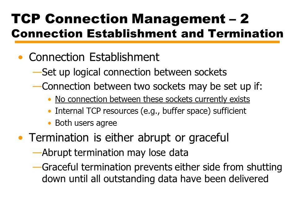 TCP Connection Management – 2 Connection Establishment and Termination