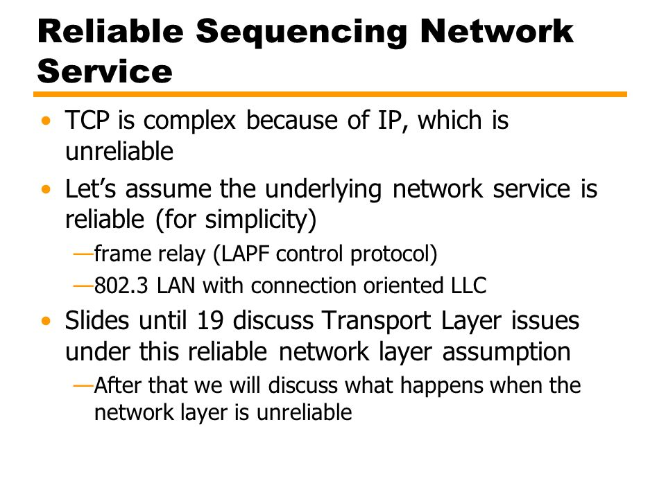 Reliable Sequencing Network Service
