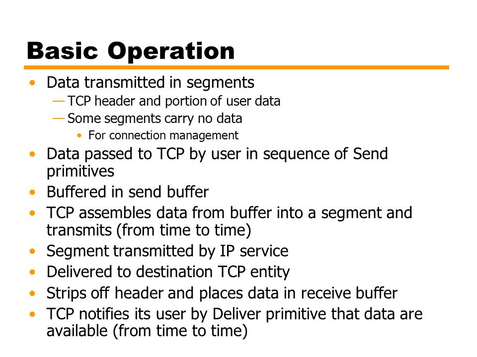 Basic Operation Data transmitted in segments