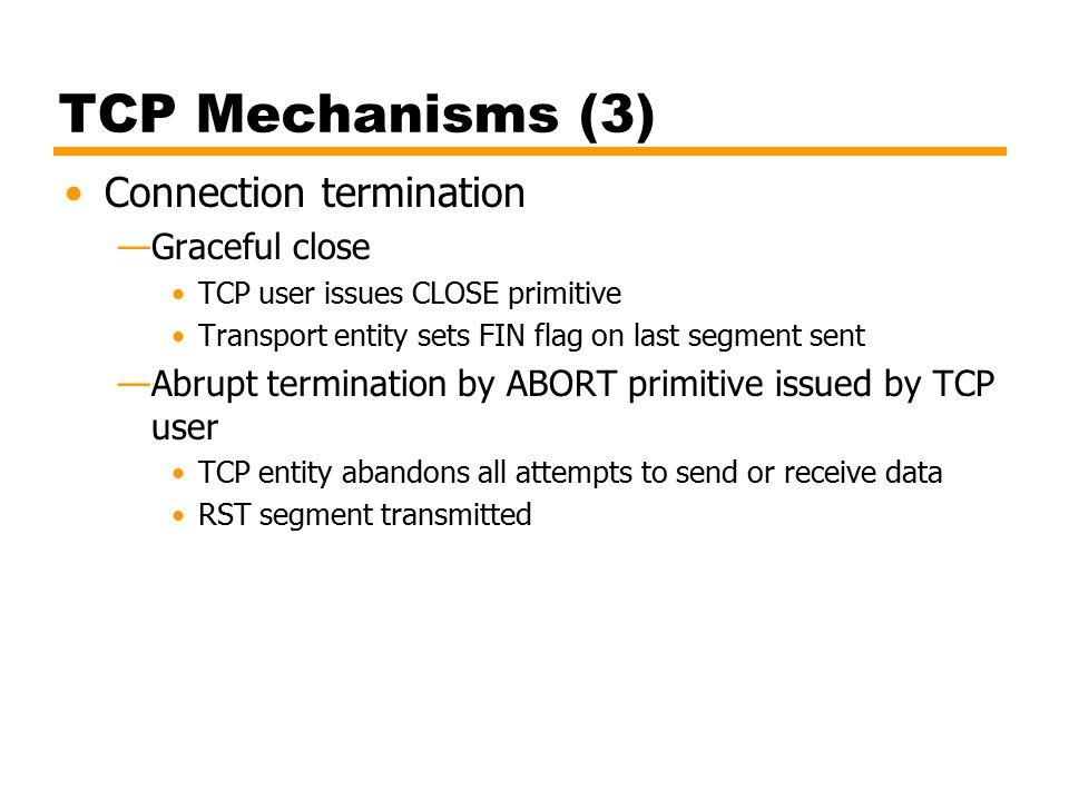 TCP Mechanisms (3) Connection termination Graceful close