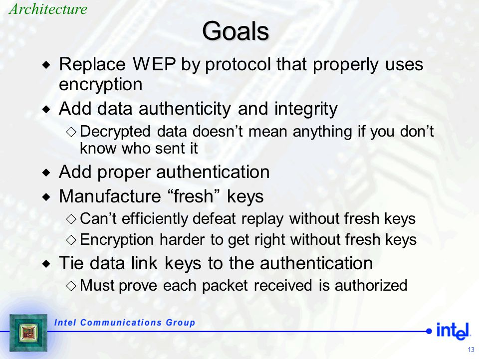 Goals Replace WEP by protocol that properly uses encryption