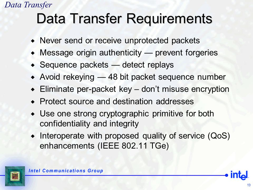 Data Transfer Requirements