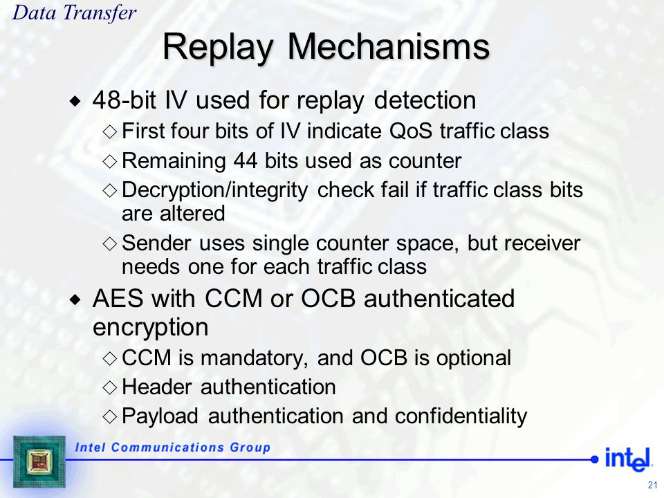 Replay Mechanisms 48-bit IV used for replay detection