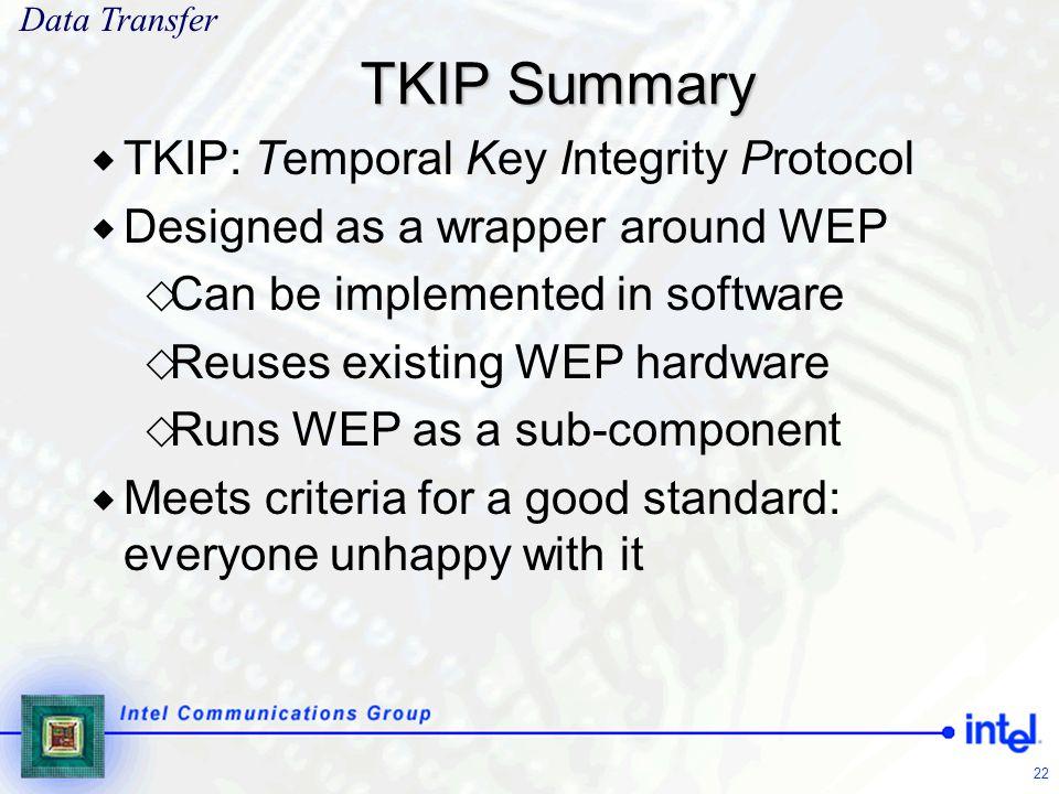 TKIP Summary TKIP: Temporal Key Integrity Protocol