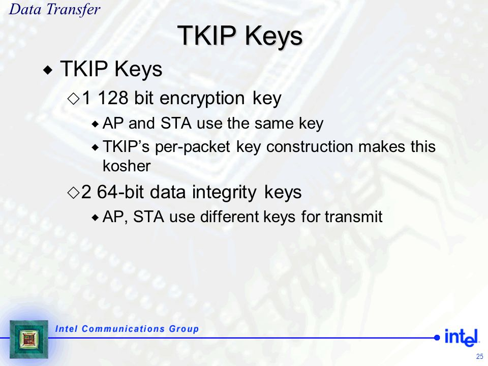 TKIP Keys TKIP Keys 1 128 bit encryption key