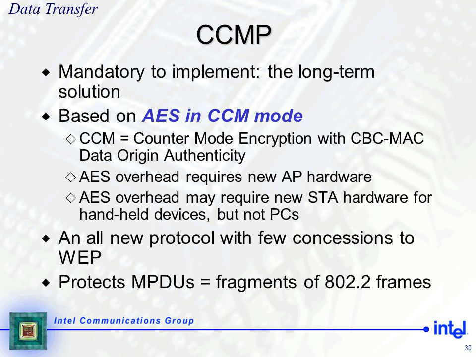 CCMP Mandatory to implement: the long-term solution
