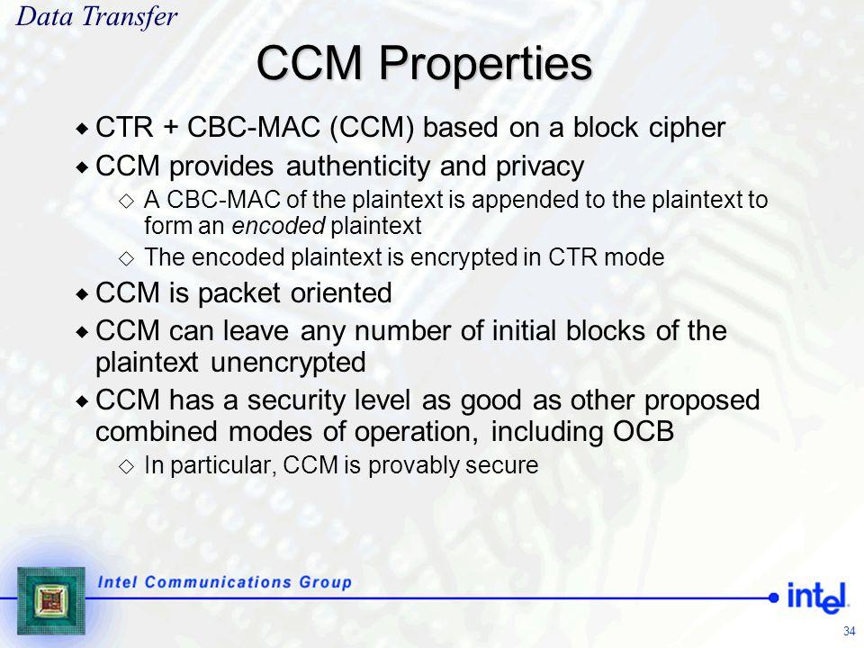 CCM Properties Data Transfer