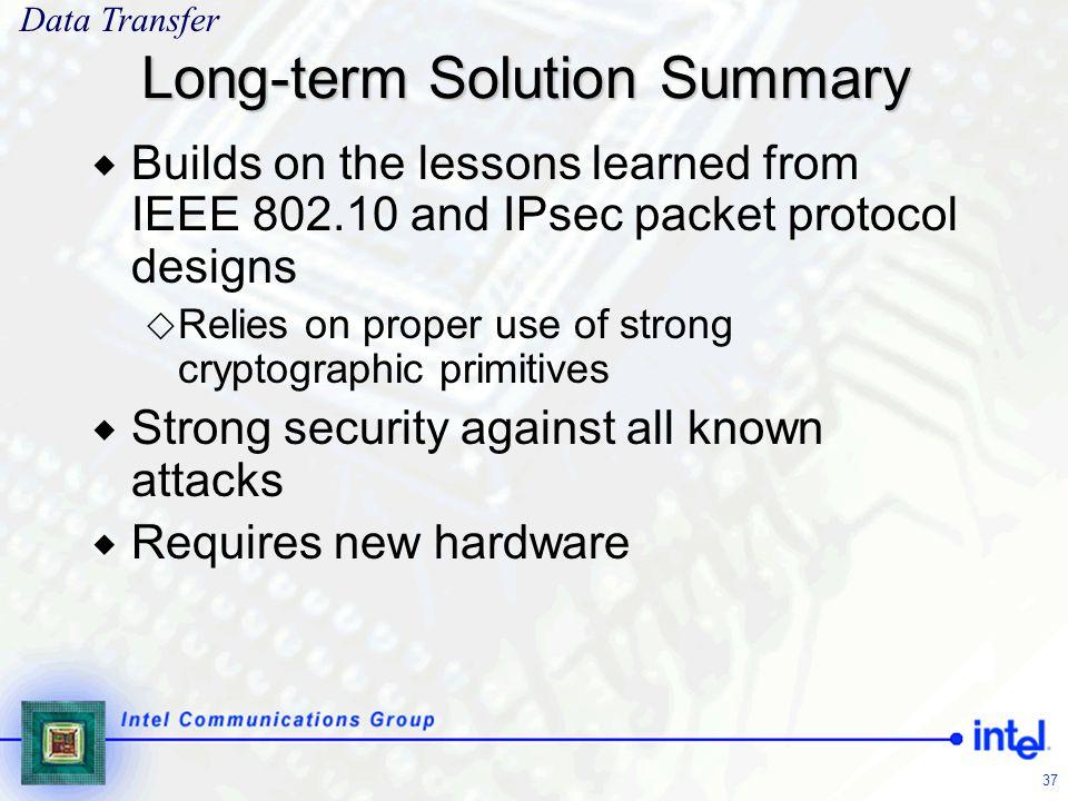 Long-term Solution Summary