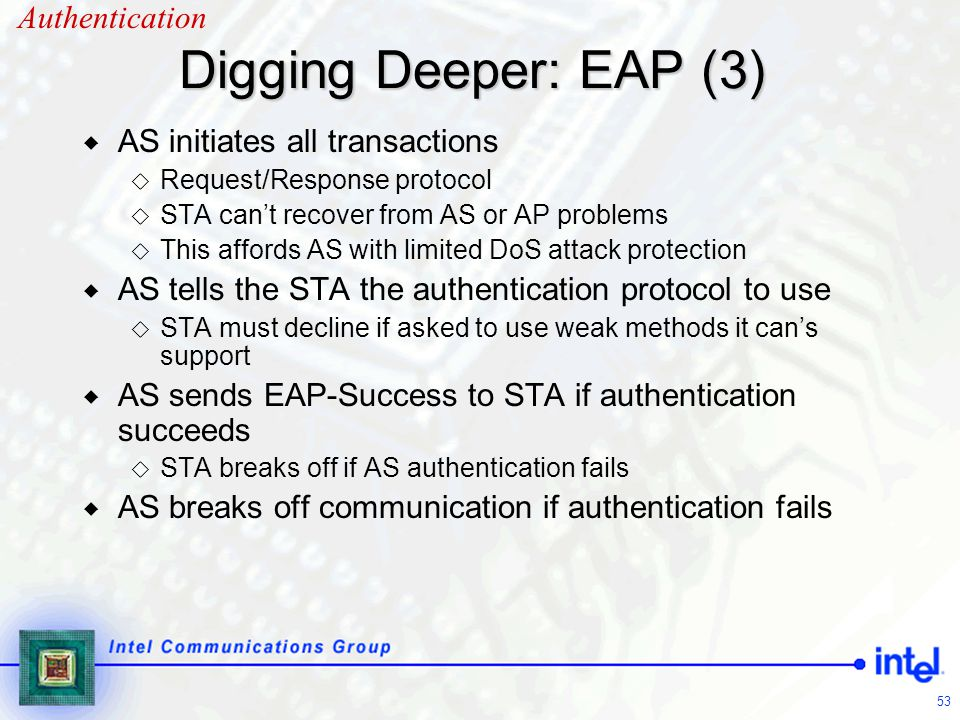 Digging Deeper: EAP (3) Authentication AS initiates all transactions