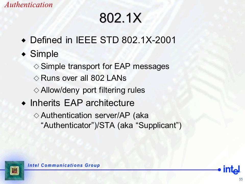 802.1X Defined in IEEE STD 802.1X-2001 Simple