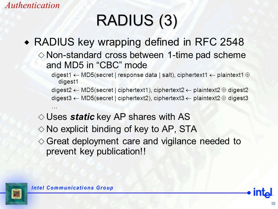 RADIUS (3) RADIUS key wrapping defined in RFC 2548 Authentication
