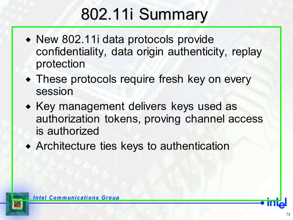 802.11i Summary New 802.11i data protocols provide confidentiality, data origin authenticity, replay protection.