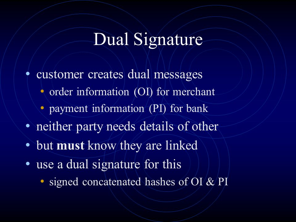 Dual Signature customer creates dual messages