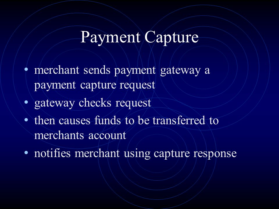 Payment Capture merchant sends payment gateway a payment capture request. gateway checks request.
