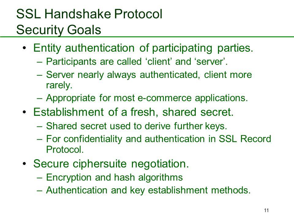 SSL Handshake Protocol Security Goals