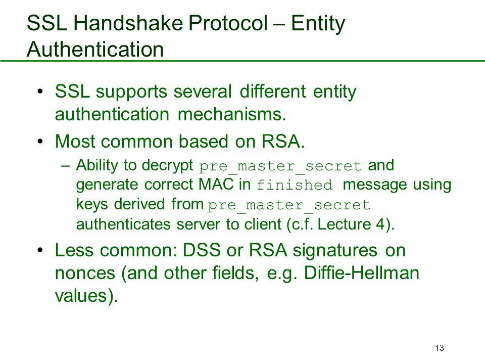 SSL Handshake Protocol – Entity Authentication