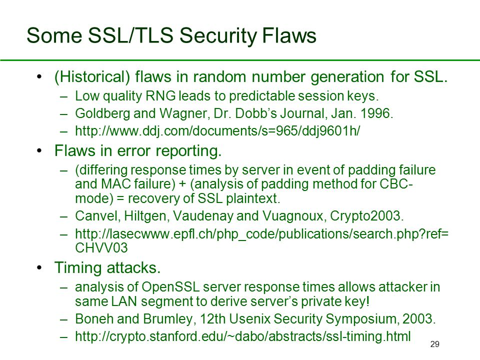 Some SSL/TLS Security Flaws