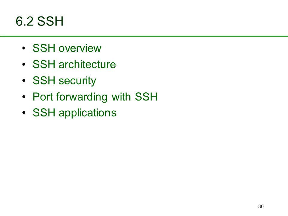 6.2 SSH SSH overview SSH architecture SSH security