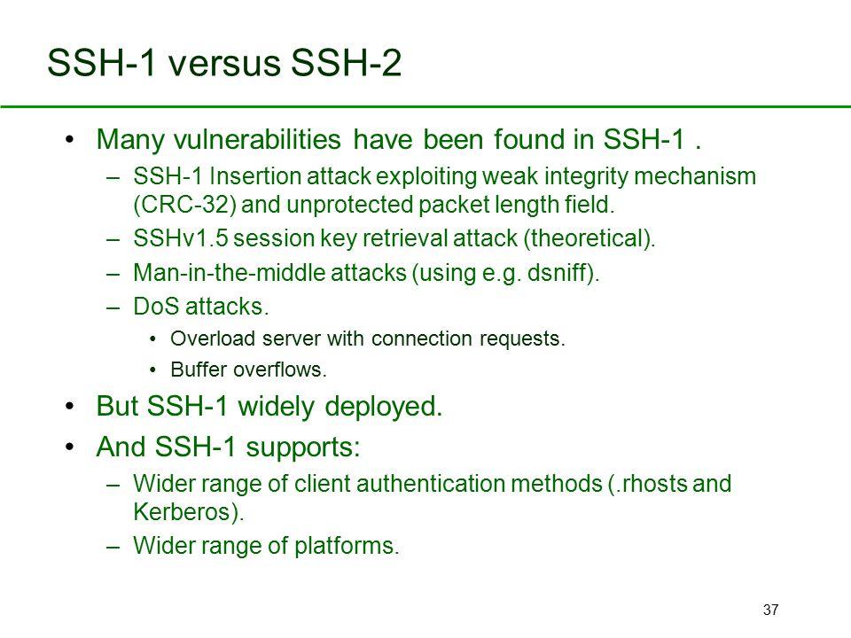 SSH-1 versus SSH-2 Many vulnerabilities have been found in SSH-1 .