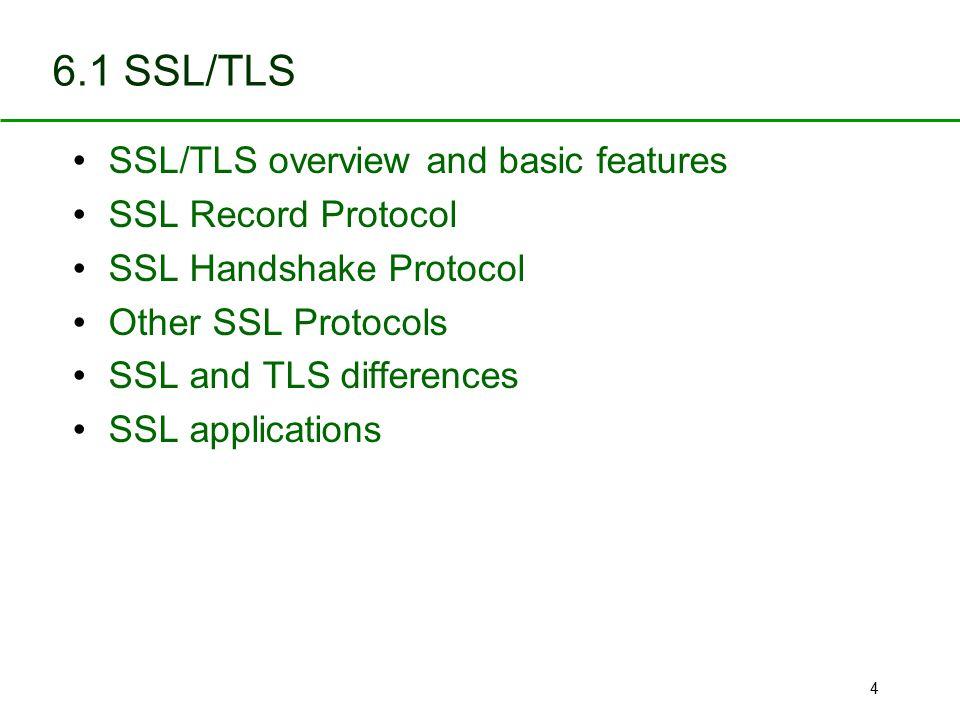 6.1 SSL/TLS SSL/TLS overview and basic features SSL Record Protocol