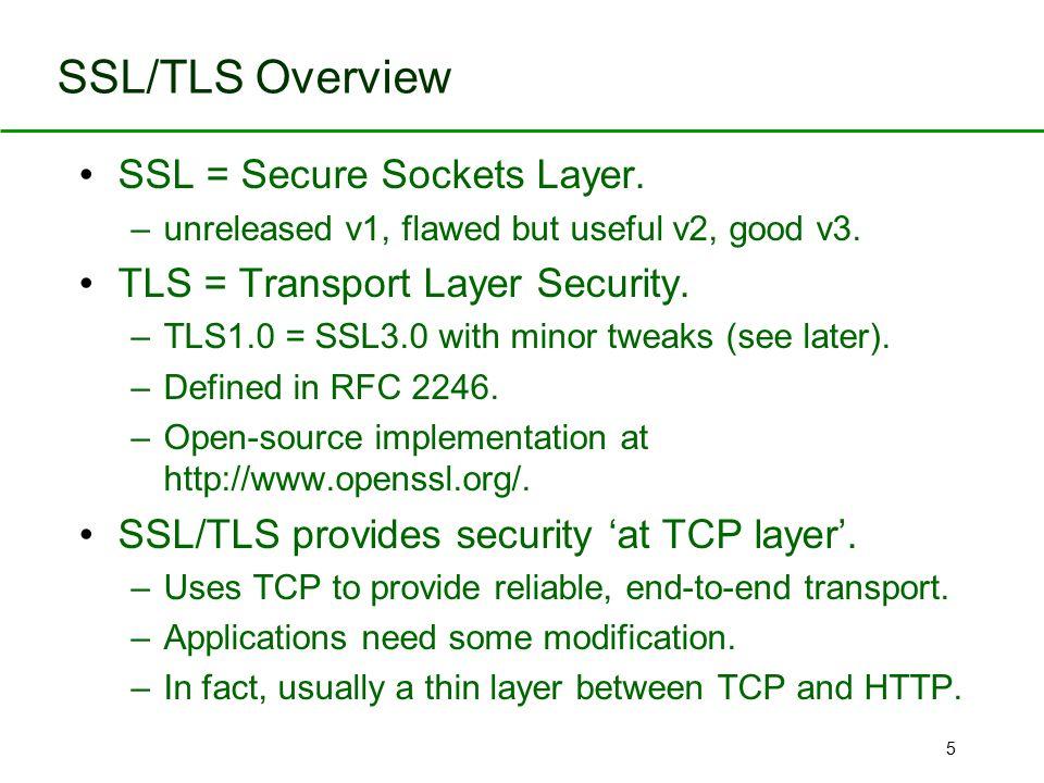 SSL/TLS Overview SSL = Secure Sockets Layer.