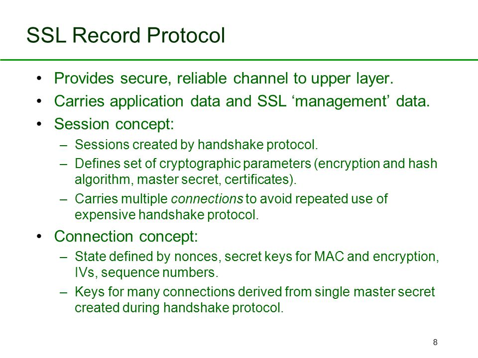 SSL Record Protocol Provides secure, reliable channel to upper layer.