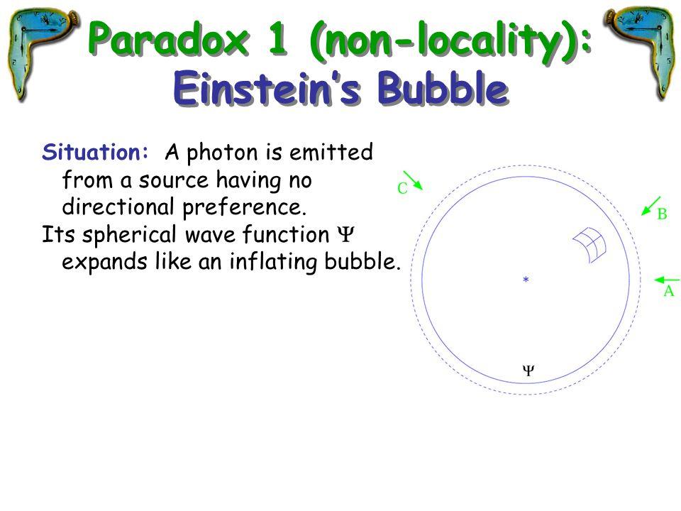 Paradox 1 (non-locality): Einstein's Bubble