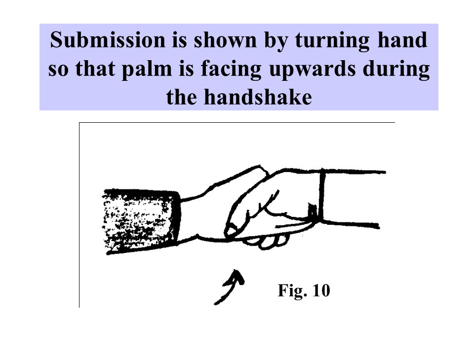 Submission is shown by turning hand so that palm is facing upwards during the handshake