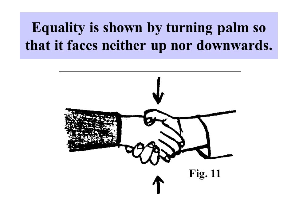Equality is shown by turning palm so that it faces neither up nor downwards.