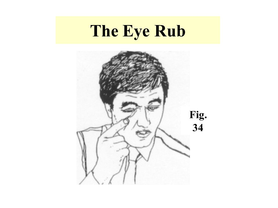 The Eye Rub Fig. 34. -A subconscious gesture that is used when a person is intentionally trying to deceive others.