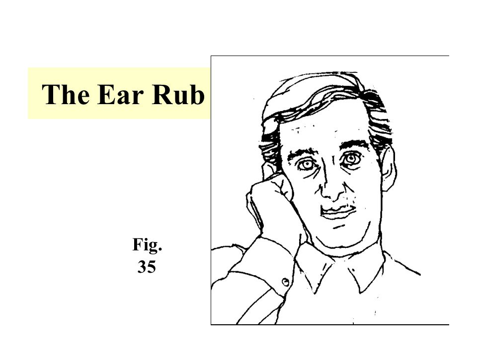 The Ear Rub -A subconscious gesture that indicated the individual is perplexed about what he/she is hearing.