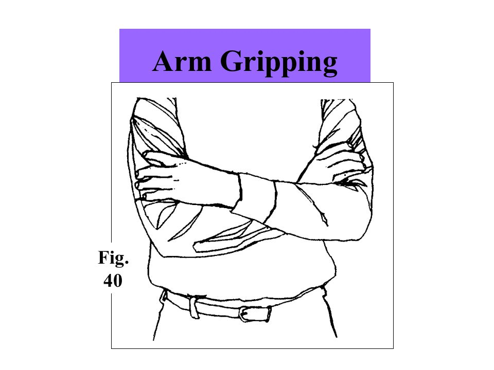 Arm Gripping This variation of arm folding usually indicates insecurity and fear Fig. 40