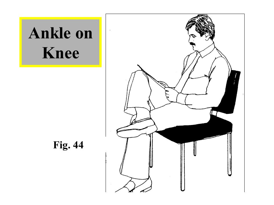 Ankle on Knee -Sometimes referred to as the cowboy pose and is a predominately male form of leg crossing in the Western world (particularly in US).