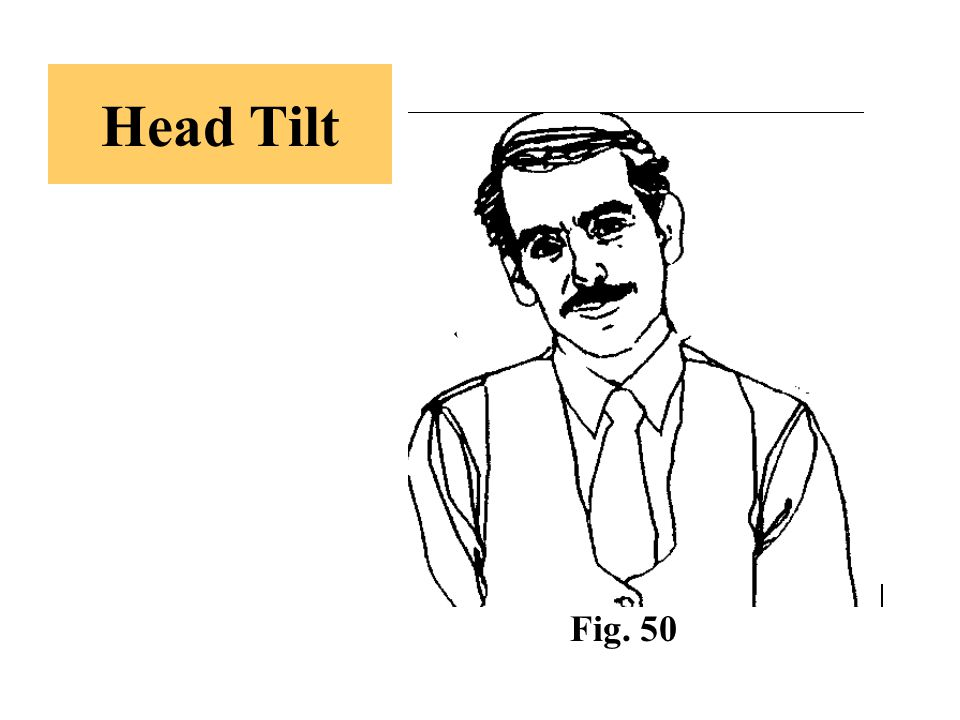 Head Tilt -A slight tilt of the head to one side indicates interest on that individual's part.