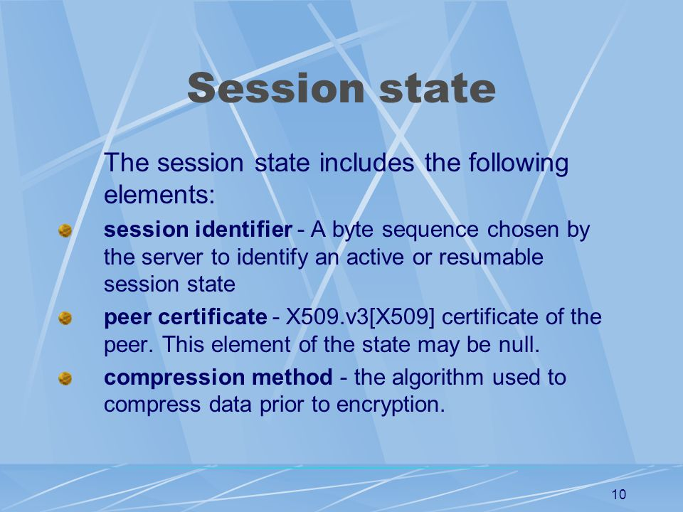 Session state The session state includes the following elements: